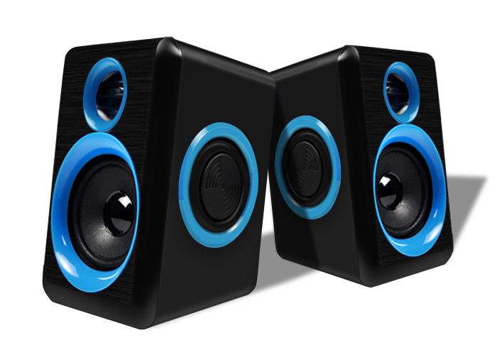 Blue / Black Wired Pc Speakers 2.0 , Small Speakers For Desktop Computer